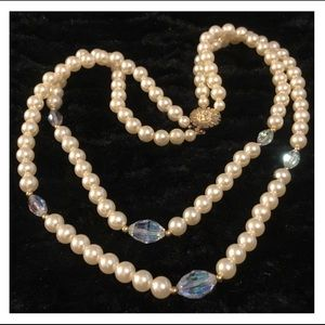 Vintage Duel Strand Pearl & Crystal Bead Necklace